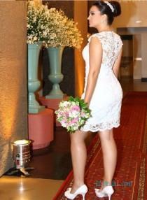 wedding photo - Convertible short and long lace wedding dress