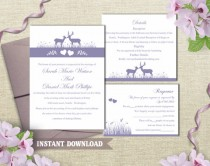 wedding photo - Wedding Invitation Template Download Printable Wedding Invitation Editable Lavender Invitation Purple Wedding Invitation Elegant Invites DIY