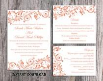 wedding photo - Wedding Invitation Template Download Printable Wedding Invitation Editable Red Wedding Invitations Elegant Orange Invitation Invites DIY