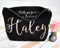 wedding photo - Personalised Bridesmaid Gift Make Up Bag - Thank you Bridesmaid, Maid of Honour Gift - Unique Gift for Bridal Party, Makeup Cosmetic Bags