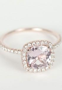 wedding photo - Certified Peach Pink Cushion Sapphire Diamond Halo Engagement Ring 14K Rose Gold