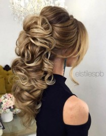 wedding photo - Braided Loose Curls Low Updo Wedding Hairstyle