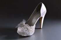 wedding photo - Wedding Shoes -Custom Colors 220 Choices - Silk Satin, 4 Inch Heels,Lace, Swarovski Crystals, Pearls, Rhinestone Brooch On Spray OfTulle