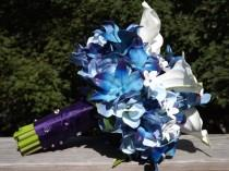 wedding photo - Bridal bouquet with Blue galaxy orchids, hydrangea, real touch medium calla lilies and jeweled stephanotis bouquet, choose your orchid