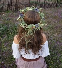 wedding photo - Elaborate flower crown with purple and green flowers, moss and butterflies