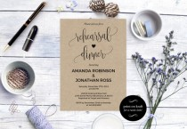 wedding photo - Rehearsal dinner invitation - Rustic Wedding Invitation Printable - Kraft Rehearsal Invitation - Downloadable wedding invitations