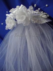 wedding photo - Veil, Flower Girl veil with headpiece, First Communion Veil with Silk flower headpiece