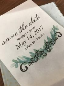 wedding photo - Custom Greenery Vellum Save the Date Invite with and without card stock background/Elegant/Modern/Simple/Unique/Flourish/Botanical/Nature