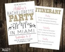wedding photo - Miami Bachelorette Party Invitation and Itinerary - MIAMI - Printable Invitation