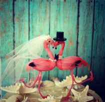 wedding photo - Flamingo wedding cake topper-bride-groom-Mr and Mrs-destination wedding-beach wedding-pink flamingos-nautical wedding