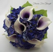 wedding photo - Real Touch Calla Lily and Hydrangea Bouquet, Purple Wedding Arrangement, Bride Keepsake