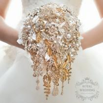 wedding photo - Brooch Bouquet Wedding Bouquet Bridal Bouquet Bridesmaids Bouquet Jewelry Bouquet Hydrangea Bouquet Cascading Bouquet Gold and White Bouquet