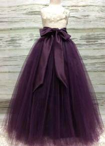 wedding photo - Custom Made Girls Eggplant/Plum Floor Length Tulle Skirt  With Sash for Flower Girl,Country Wedding,Rustic Wedding for Flower girl
