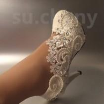 wedding photo - Details About Lace White Ivory Crystal Wedding Shoes Bridal Flats Low High Heel Pump Size 5-12