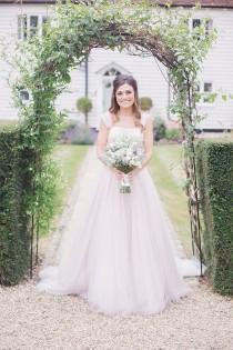 wedding photo - Blush Pink Wedding Dress By Suzanne Neville Blake Hall Essex