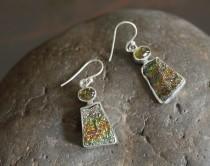 wedding photo - Spectropyrite druzy earrings, druzy earrings, Tourmaline earrings, gift for her, bridesmaid earrings, 925 silver earrings, rainbow druzy