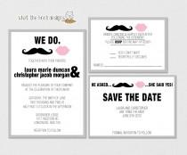 wedding photo - Printable/DIY Wedding Invitation, Response Card and Save the Date Set - Mustache and Lips Theme