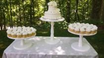 wedding photo - Cake Stand, Wood Cake Stand, Shabby Chic Cake Stand, Wedding Cake Stand, Shabby Chic Wedding, Wood Cake Stand, Cupcake Stand, Set of 3 Stand