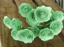 "wedding photo - 1- 1 1/2"" sized mint green paper roses spiral rolled flowers for brides bouquet wedding decorations bridesmaid toss flower girl ledger green"