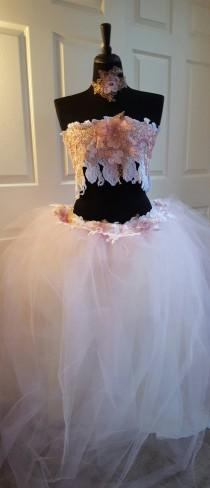 wedding photo - 3 Piece Pink Gold & White Embroidered Lace Bandeau Bralette Bikini Top, Choker Necklace And Ball Gown Skirt Bridal Wedding Set Brlly Dance