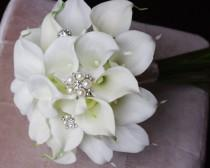 wedding photo - Wedding Brooch Bouquet Off White Natural Touch Calla Lilies Silk Bridal Jewel Flowers