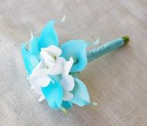 wedding photo - Wedding Bouquet Off White Hydrangeas and Aruba Aqua Turquoise Calla Lilies Silk Flower Bride Bouquet - Almost Fresh