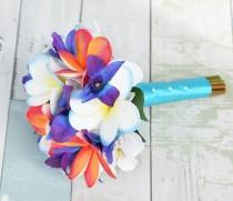 wedding photo - Wedding Silk Tropical Plumeria Bouquet - Fuchsia, Orange and Purple Natural Touch Orchids and Plumerias Silk Small Bridesmaid Bridal Bouquet