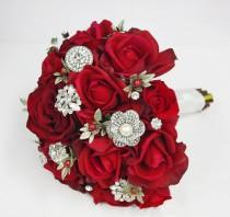 wedding photo - Christmas Red Silk Brooch Wedding Bouquet - Natural Touch Roses and Brooch Jewel Bride Bouquet - Rhinestones