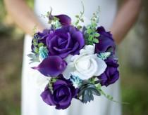 wedding photo - Wedding Succulents and Purple Roses Bouquet - Roses and Callas Natural Touch Silk Flower Bride Bouquet