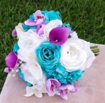 wedding photo - Wedding Teal Turquoise and Purple Natural Touch Roses Silk Flower Bride Bouquet - Peacock Colors