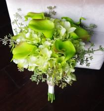 wedding photo - Silk Wedding Bouquet with Green Calla Lilies - Rustic Natural Touch Callas Silk Bridal Flowers