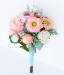 wedding photo - Wedding Peach Coral Peonnies, Ranunculus and Zinnias Flower Bride Fresh Style Bouquet