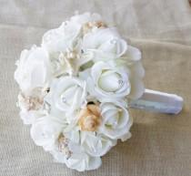 wedding photo - Wedding Natural Touch Seashells and Ivory Roses Silk Flower Bride Bouquet - Almost Fresh