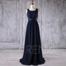 wedding photo - 2017 Navy Chiffon Bridesmaid Dress, Square Neck Wedding Dress, Ruched Bodice Maxi Dress with Satin Belt, Long Prom Dress Empire Waist (L243)