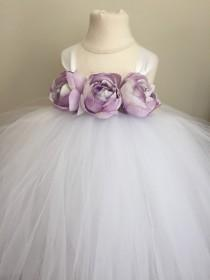 wedding photo - Lavender and white girls tulle flower girl dress, lavender wedding, girls lavender dress, lavender tulle tutu dress
