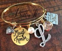 wedding photo - Wedding party gifts, Maid of honor bracelet, GOLD bangle, GREEN, BRIDESMAID gift, Maid of honor gift, mixed metals, rehearsal dinner gift