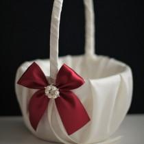 wedding photo - Burgundy Flower Girl Basket  Burgundy Wedding Basket  Dark Red Basket  Burgundy Ring Bearer Pillow  Marsala Wedding Basket Pillow Set