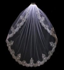 wedding photo - Extravagant Beaded Silver Embroidery Fingertip or Cathedral Length Wedding Veil