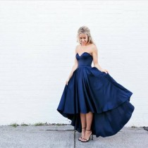 wedding photo - Simple Sweetheart Sleeveless High-Low Navy Blue Prom Dress with Pleats from Tidetell
