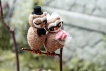 wedding photo - Felted Wedding Cake Topper - Owls