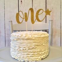 wedding photo - Twinkle twinkle little star, first birthday, first birthday decorations, gold glitter cake topper, baby shower, star cake topper