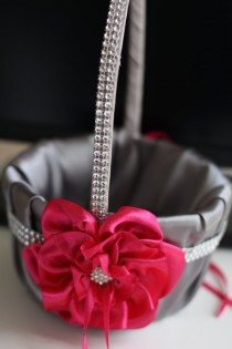 wedding photo - Fuchsia Flower Girl Basket with Brooch & Gray satin  Gray Wedding Basket with fuchsia flower  pink Wedding Basket, wedding Ceremony