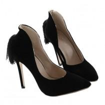 wedding photo - Back Heel Tassel Pointed Thin High Heel Low-cut Wedding Shoes Black