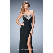 wedding photo - Black Strapless Beaded Net Gown by La Femme - Color Your Classy Wardrobe