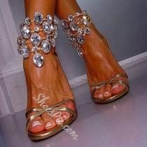 wedding photo - Golden Color Huge Rhinestone Ankle Wrap Dress Sandals