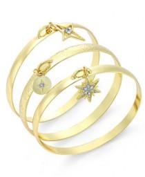 wedding photo - Gold-Tone 3-Piece Charm Bangle Bracelet Set