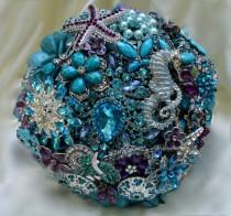 wedding photo - DEPOSIT on a Completely Customized Bridal Brooch Bouquet Beach Wedding Teal Silver Turquoise Blue Purple Lavender Crystal Broach Bouqet