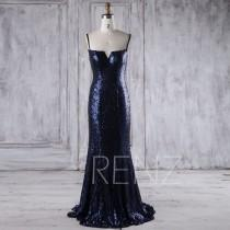wedding photo - 2017 Navy Sequin Bridesmaid Dress, V Neck Wedding Dress, Spaghetti Straps Prom Dress Mermaid, Luxury Evening Gown Floor Length (XQ081)