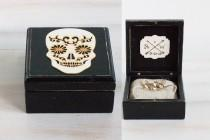 wedding photo - Mexican Skull Wedding Box Ring Bearer Box Black Wedding Ring Box Halloween Wedding Engagement Ring Box Ring Holder Day of the Dead Ring Box