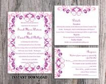wedding photo - Wedding Invitation Template Download Printable Wedding Invitation Editable Pink Invitations Elegant Invitation Purple Wedding Invitation DIY